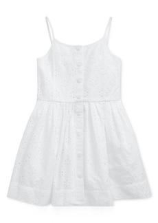 Ralph Lauren: Polo Polo Ralph Lauren Little Girls Eyelet Buttoned Cotton Dress