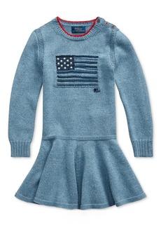 Ralph Lauren: Polo Polo Ralph Lauren Toddler Girls Intarsia-Flag Cotton Dress