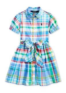 Ralph Lauren: Polo Polo Ralph Lauren Little Girls Plaid Cotton Poplin Shirtdress, Created for Macy's