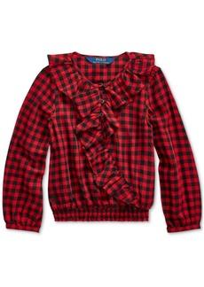 Ralph Lauren: Polo Polo Ralph Lauren Toddler Girl's Ruffled Cotton Twill Top