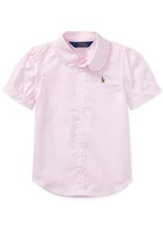 Ralph Lauren: Polo Polo Ralph Lauren Little Girls Solid Oxford Top
