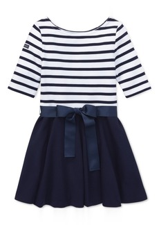 Ralph Lauren: Polo Polo Ralph Lauren Little Girls Striped Jersey-Ponte Knit Dress