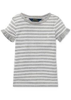Ralph Lauren: Polo Polo Ralph Lauren Toddler Girls Striped Ruffled T-Shirt