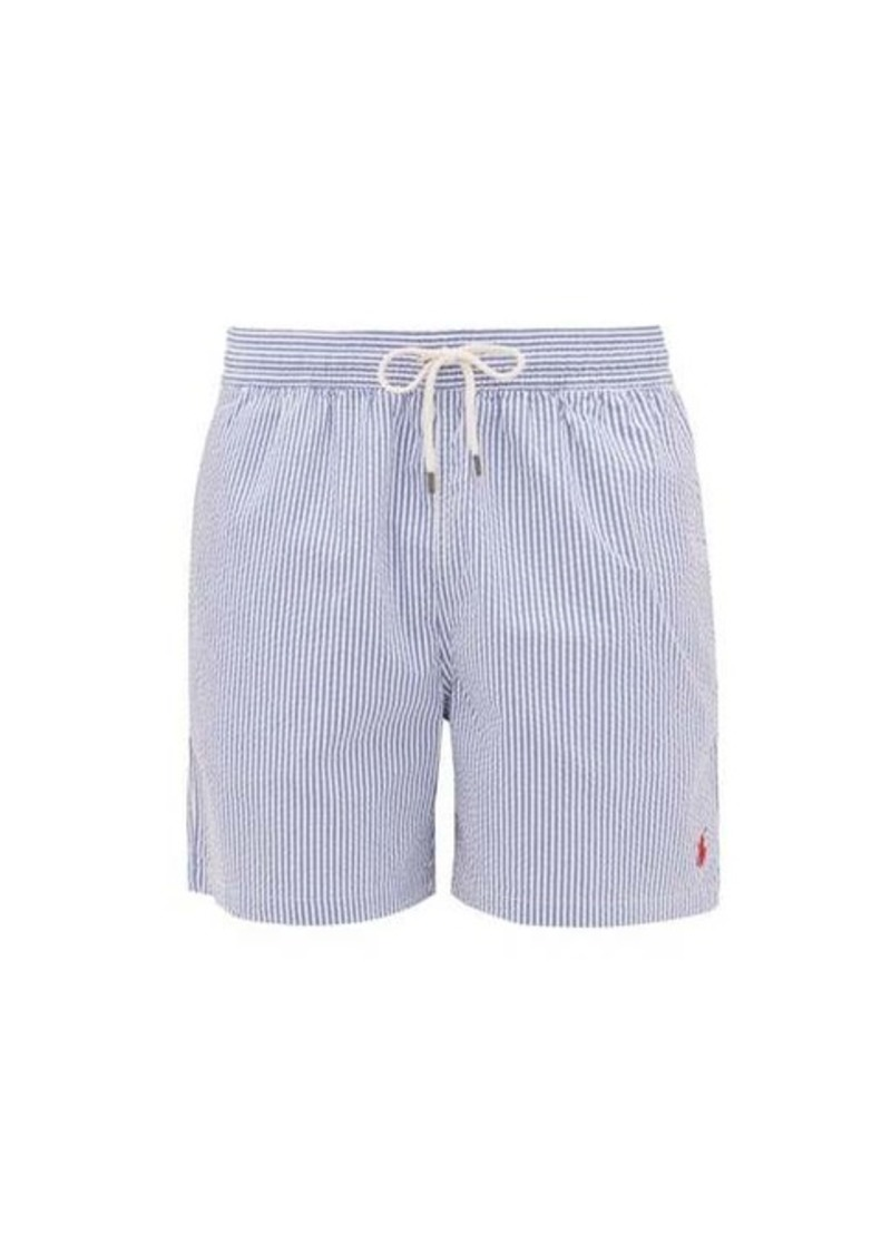 Ralph Lauren Polo Polo Ralph Lauren Logo-embroidered striped seersucker swim shorts
