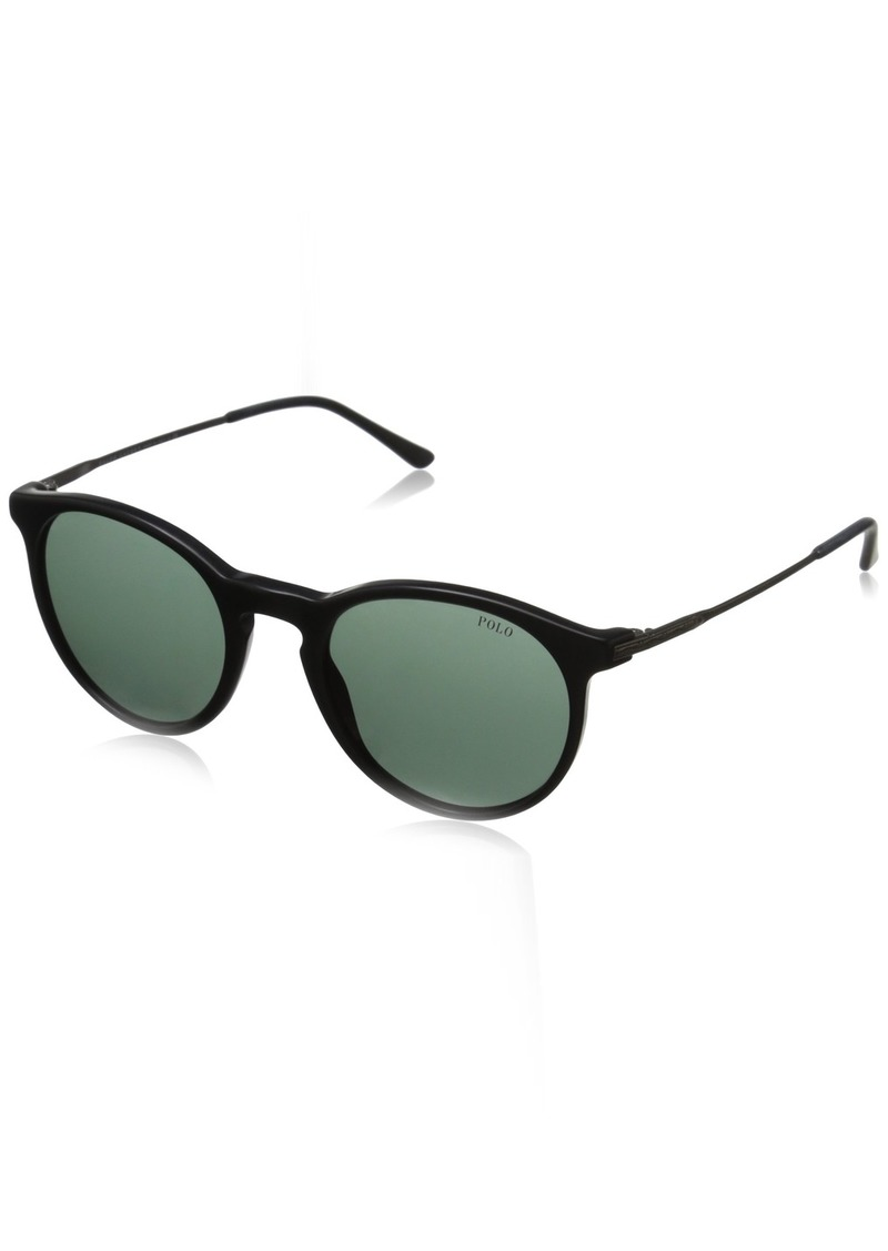 Ralph Lauren Polo Polo Ralph Lauren Men's 0PH4096 Round Sunglasses VintageBlackGreen & Aged Silver  mm