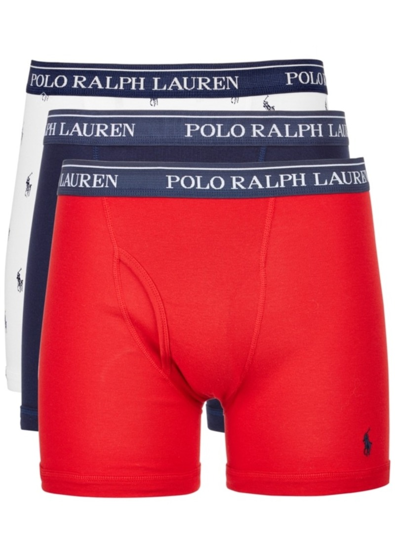 outlet store attractive colour most desirable fashion Ralph Lauren Polo Polo Ralph Lauren Men's 3-Pk. Classic Cotton Boxer Briefs  | Intimates