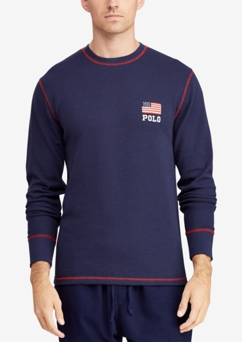 7aa9226b8 Polo Ralph Lauren Men's Big & Tall Waffle-Knit Thermal with Flag Logo