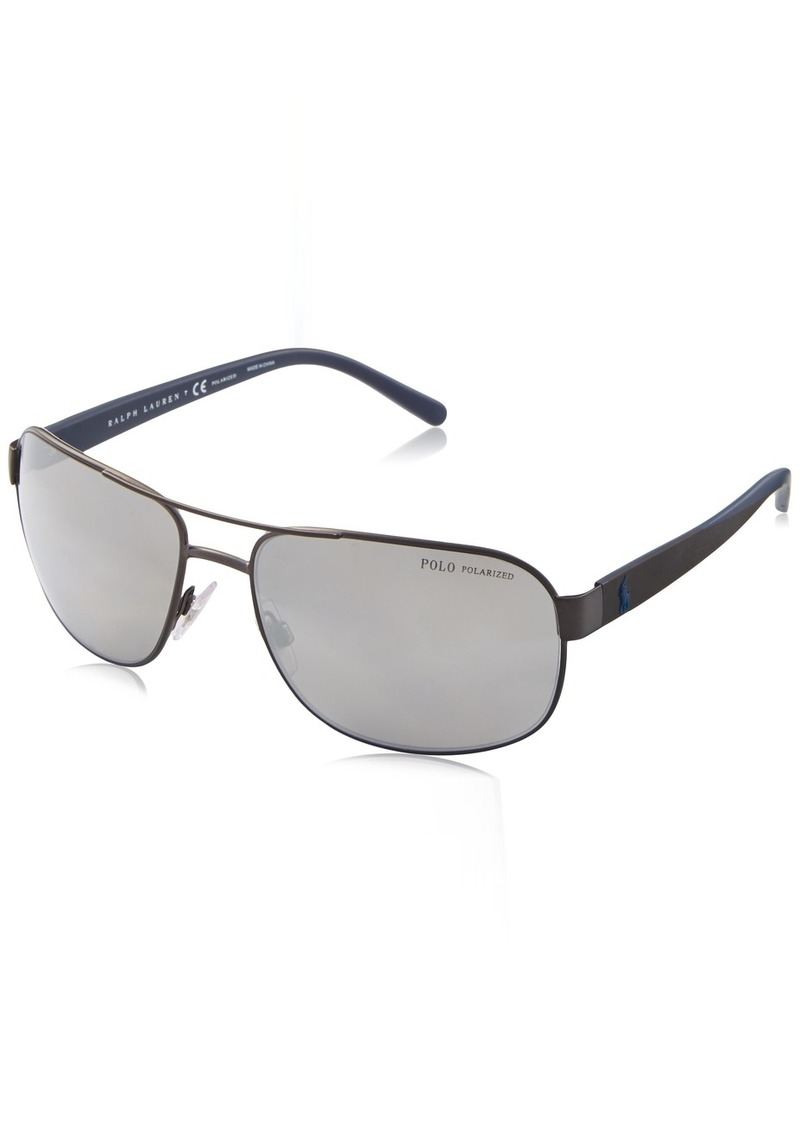 Ralph Lauren Polo Polo Ralph Lauren Men's Metal Man Polarized Aviator Sunglasses Matte Dark Gunmetal