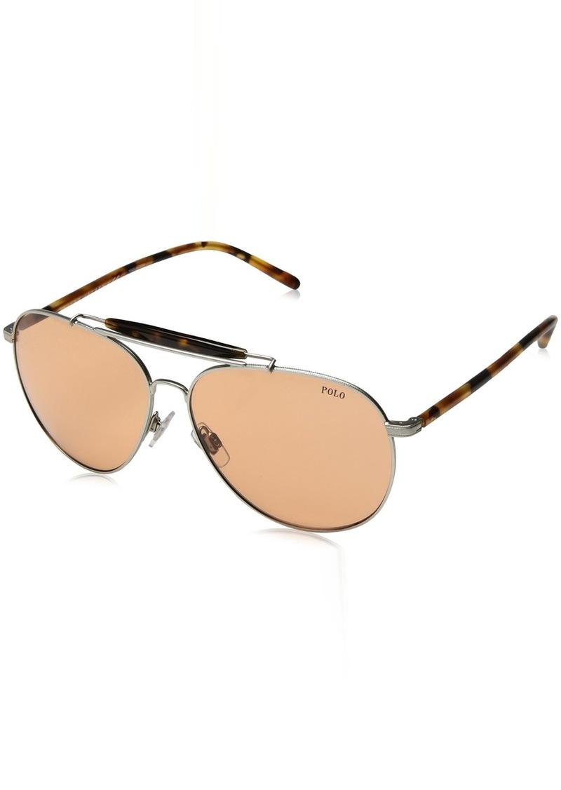 Ralph Lauren Polo Polo Ralph Lauren Men's PH3106 Aviator Metal Sunglasses  60 mm