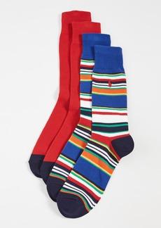 Ralph Lauren Polo Polo Ralph Lauren Multi Stripe Slack Socks 2 Pack