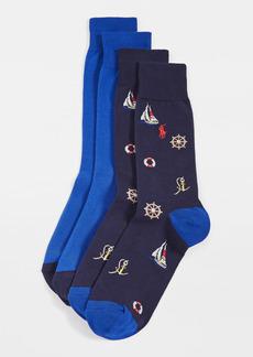 Ralph Lauren Polo Polo Ralph Lauren Nautical Slack Socks 2 Pack
