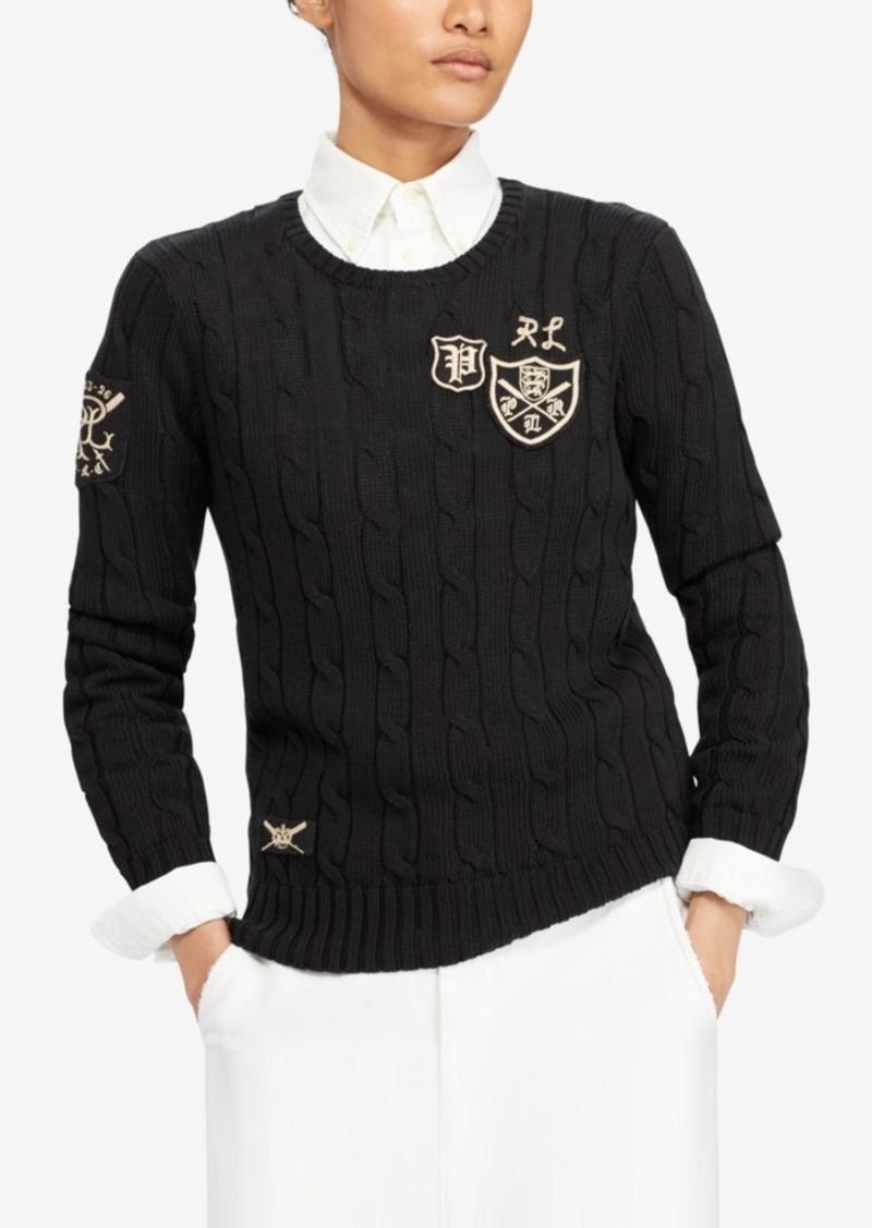fd39f980e6a SALE! Ralph Lauren  Polo Polo Ralph Lauren Patchwork Cable-Knit Sweater