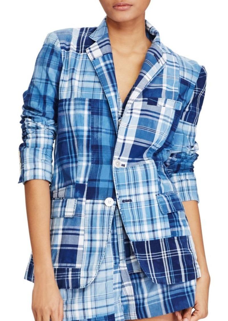 Madras Blazer Patchwork Polo Cotton Lauren Ralph YbvI6yf7g