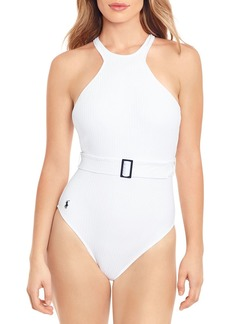 Ralph Lauren: Polo Polo Ralph Lauren Ribbed Belted One Piece Swimsuit