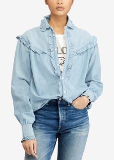 Ralph Lauren: Polo Polo Ralph Lauren Ruffle-Trim Denim Cotton Shirt