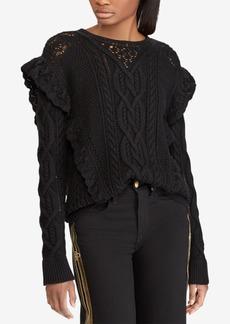 Ralph Lauren: Polo Polo Ralph Lauren Ruffle-Trim Wool Cable-Knit Sweater
