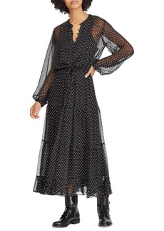 Ralph Lauren: Polo Polo Ralph Lauren Sheer Silk Polka-Dot Maxi Dress