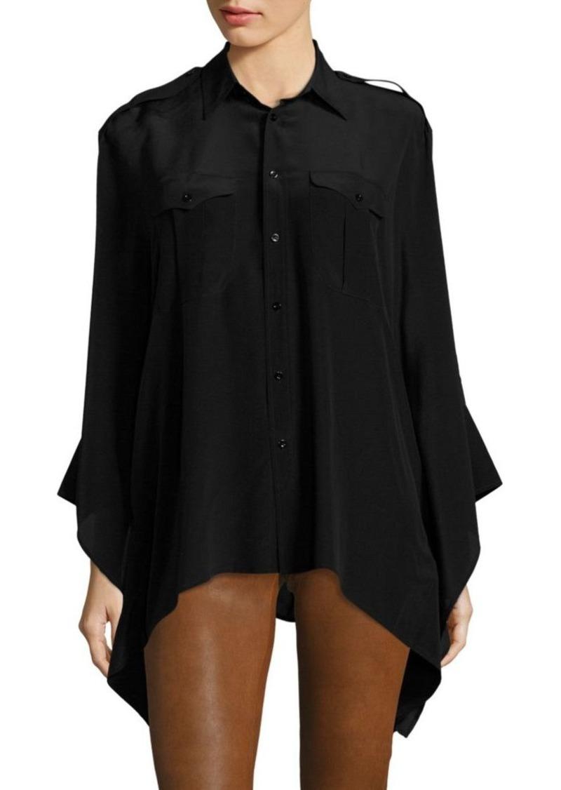 Crepe Poncho Shirt Lauren Ralph Silk Polo gYv6ybf7