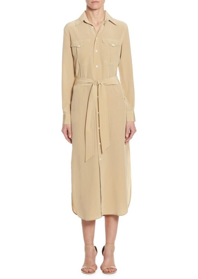 Ralph Lauren Polo Silk Crepe Shirtdress Now 11920