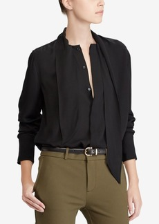 Ralph Lauren: Polo Polo Ralph Lauren Silk Georgette Necktie Blouse