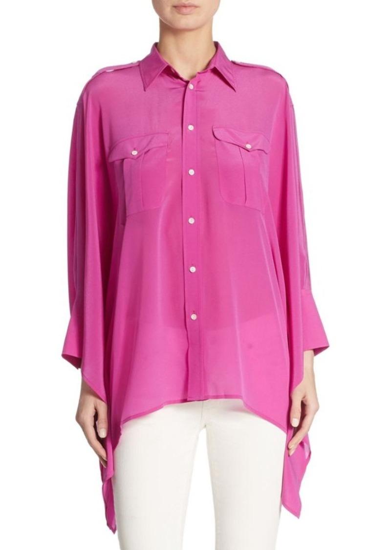 Lauren Polo Ralph Poncho Shirt Silk QtrdBshCx