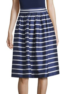 Polo Ralph Lauren Striped Cotton and Mulberry Silk A-Line Skirt