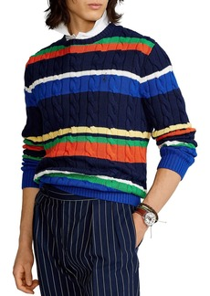 Ralph Lauren Polo Polo Ralph Lauren Striped Cotton Cable Knit Sweater
