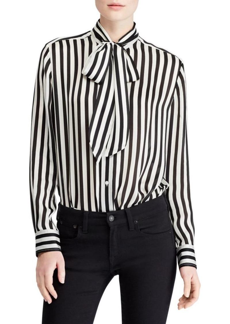 bc770890ad5bb3 Ralph Lauren  Polo Polo Ralph Lauren Striped Silk Neck-Tie Blouse ...