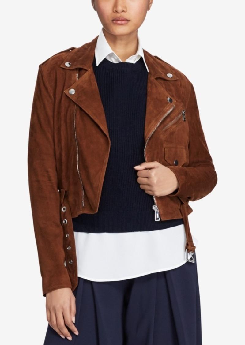 Lauren Jacket Moto Polo Ralph Suede 3L54RjqA