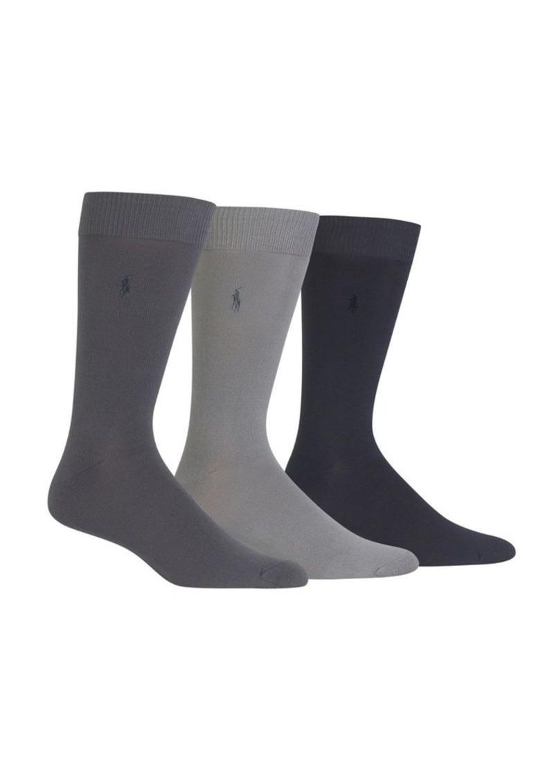 Ralph Lauren Polo Polo Ralph Lauren 3-Pair Supersoft Flat Knit Crew Socks