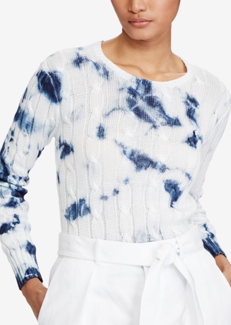 Ralph Lauren  Polo Polo Ralph Lauren Tie-Dye Cable-Knit Cotton Sweater 9e6bce5d7c2