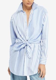 Ralph Lauren: Polo Polo Ralph Lauren Tie-Front Striped Cotton Shirt