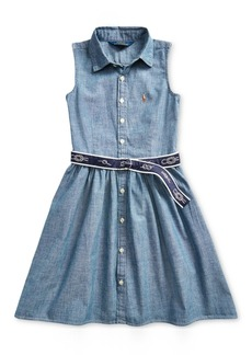 Ralph Lauren: Polo Polo Ralph Lauren Little Girls Belted Chambray Shirtdress
