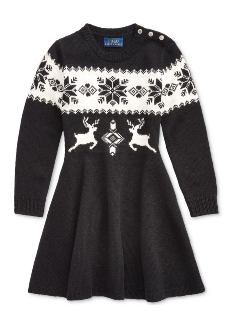 Ralph Lauren: Polo Polo Ralph Lauren Toddler Girls Intarsia-Knit Sweater Dress
