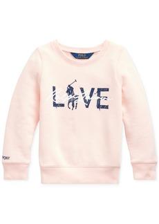 Ralph Lauren: Polo Polo Ralph Lauren Toddler Girls Pink Pony Fleece Logo Sweatshirt