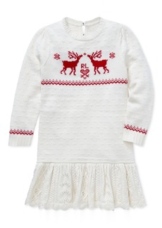 Ralph Lauren: Polo Polo Ralph Lauren Toddler Girls Reindeer Sweater Dress