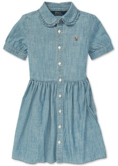 Ralph Lauren: Polo Polo Ralph Lauren Little Girls Ruffled Cotton Chambray Dress