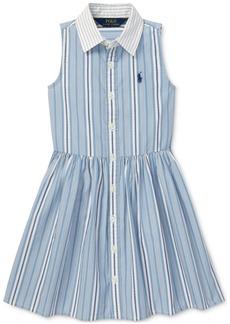 Ralph Lauren: Polo Polo Ralph Lauren Toddler Girls Striped Cotton Shirtdress