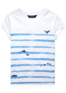 Ralph Lauren: Polo Polo Ralph Lauren Little Girls Striped Graphic Cotton T-Shirt