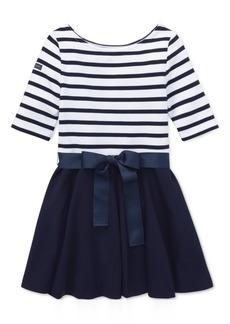 Ralph Lauren: Polo Polo Ralph Lauren Little Girls Striped Jersey-Ponte Knit Dress
