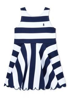 Ralph Lauren: Polo Polo Ralph Lauren Little Girls Striped Stretch Ponte Dress