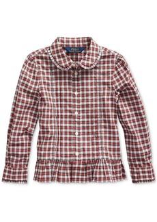 Ralph Lauren: Polo Polo Ralph Lauren Little Girls Tartan Peplum-Hem Cotton Shirt