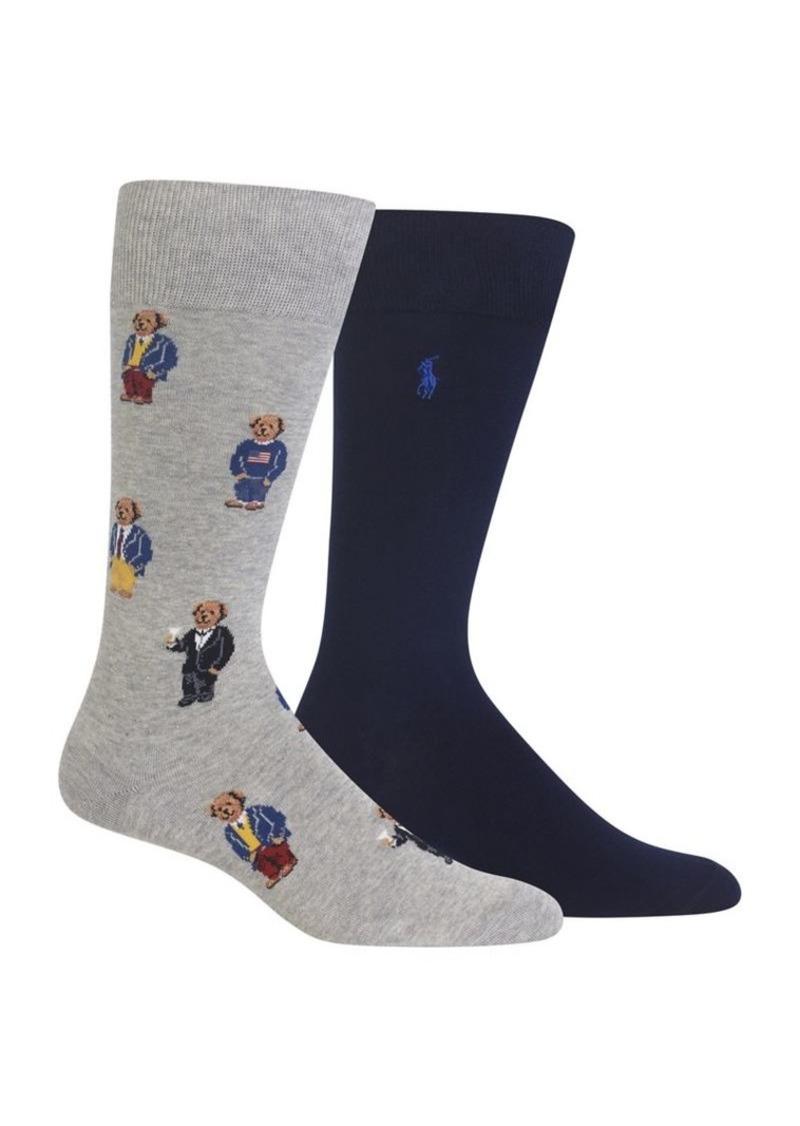 7c7e5a80e5 Polo Ralph Lauren Two-Pack Assorted Lightweight Polo Bear Crew Socks