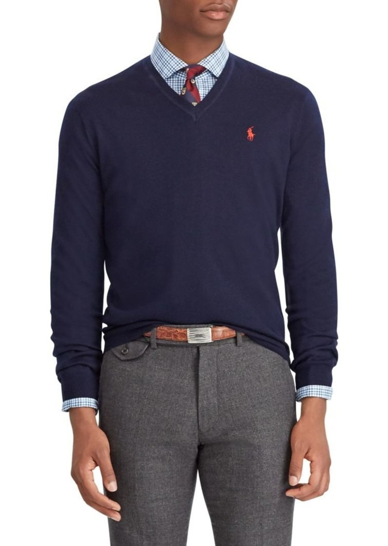 Ralph Lauren Polo Polo Ralph Lauren Washable Merino Wool V-Neck Sweater