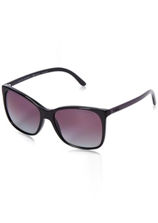 Ralph Lauren: Polo Polo Ralph Lauren Women's 0PH4094 Polarized Rectangular Sunglasses BlackPolar GradientBurgundiBlack & Violet 55 mm