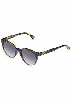 Ralph Lauren: Polo Polo Ralph Lauren Women's PH4147 Round Sunglasses Shiny Blue On Spotty Haven/Pink Dark Violet Gradient