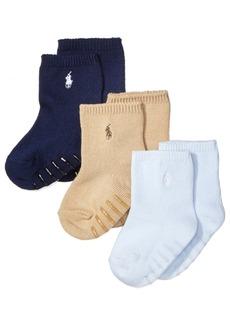 Ralph Lauren: Polo Ralph Lauren Baby Boys Crew Socks 3-Pack