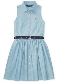 Ralph Lauren: Polo Polo Ralph Lauren Fit & Flare Chambray Shirtdress, Big Girls (7-16)