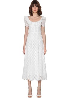 Ralph Lauren: Polo Ruffled Eyelet Lace Cotton Midi Dress