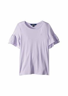 Ralph Lauren: Polo Ruffled-Sleeve Crew Neck T-Shirt (Little Kids/Big Kids)